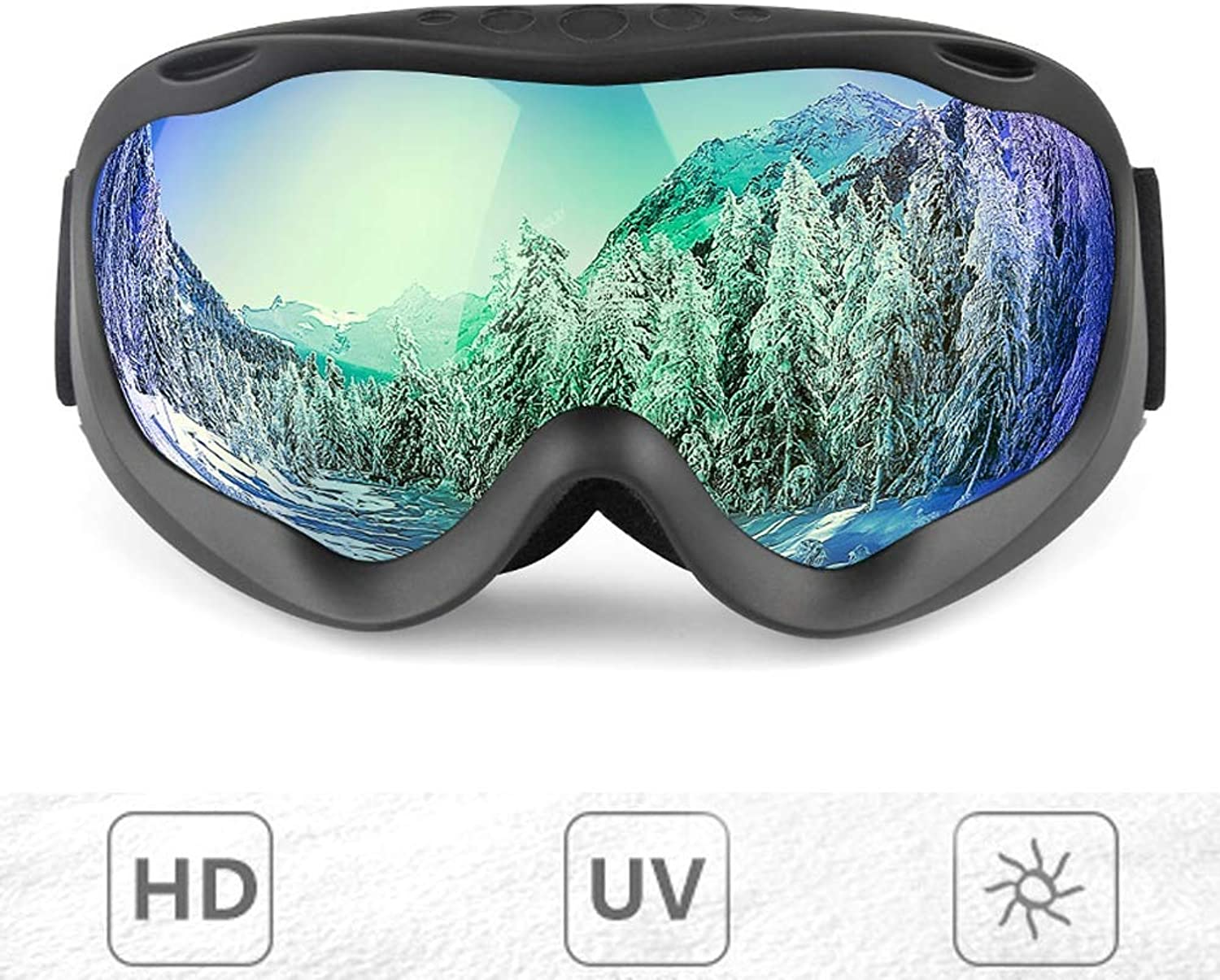DoubleLayer Spherical Ski Goggles AntiFog and AntiUV Goggles Can be Placed NearGlasses Adult Men and Women Outdoor