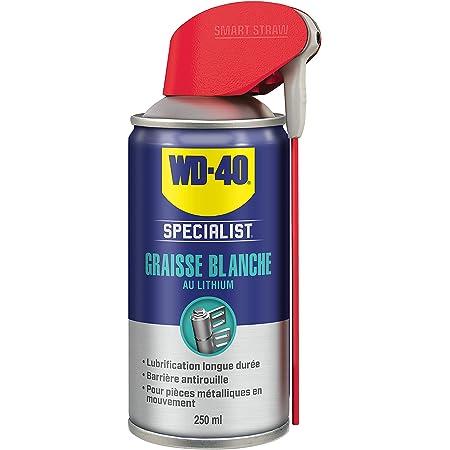 WD-40 Specialist • Graisse Blanche Au Lithium • Spray Double Position • Formule Blanche et épaisse • Résiste à l'Eau et a la Chaleur • Propriétés anti-usure • 250 ML gris