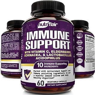 NutriFlair Emergency Immune Support With Vitamin C, Elderberry, Echinacea, Lactobacillus Probiotics, Turmeric Curcumin, Zinc Oxide, Garlic, Vitamin E, Vitamin B6 - Boosts Immune System - 60 Capsules