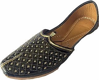 Men's Flat Black Wedding Khussa Shoes Traditional Indian Leather Loafer Punjabi Jutti
