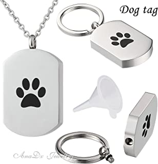 Aooaz Jewelry Memorial Keepsake Jewelry Necklace Stainless Steel Urn Cremation Ash Pendant Pet Paw Tag