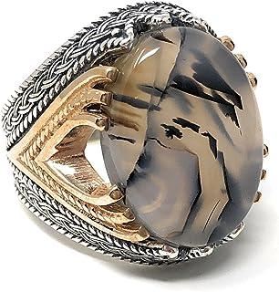 KAR Rare Find 925K Sterling Silver Yemeni Agate(Aqeeq) Men's Ring P5C