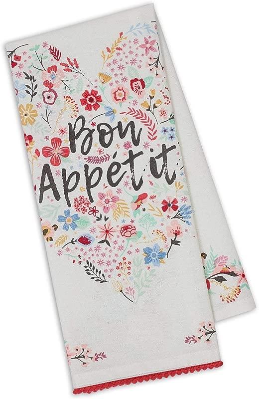 Design Imports Bon Appetit Fleur Heart Embellished Dishtowel