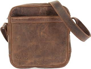 LECONI kleine Umhängetasche Damen  Herren Schultertasche Ledertasche Herrentasche Vintage-Leder Männertasche 24x25x7cm LE3075