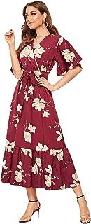 SheIn Women's Floral Print V Neck Half Sleeve Belted Ruffle Hem Boho Long Dress
