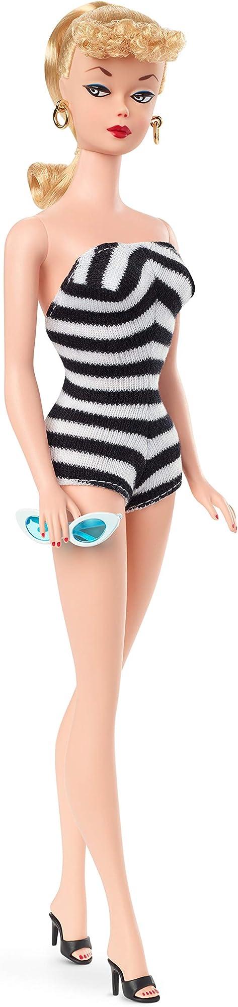 Barbie signature, riproduzione bambola barbie da collezione con costume da bagno GHT46