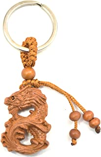 feng Shui Chinese Horoscope Chinese Zodiac Handmade Wooden Keychain Home Decoration Attract Money Gift (Dragon)