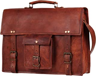 "15"" Leather Messenger Bag Laptop case Office Briefcase Men Computer Distressed Shoulder Bag"