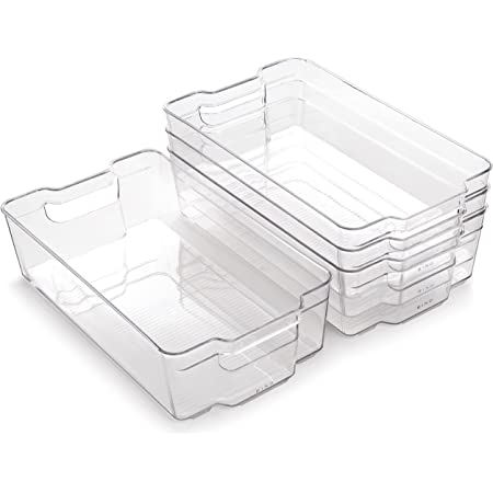 BINO | Stackable Plastic Storage Bins, X-Large - 4 Pack | The Stacker Collection | Multi-Use Organizer Bins | BPA-Free | Pantry Organization | Home Organization | Fridge Organizer | Freezer Organizer