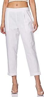 Jaipur Kurti Women's Pleat-Front Trousers (JKPAT0090-XL_White_X-Large)