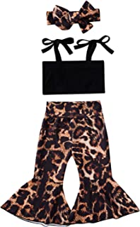Baby Girl Leopard Bell Bottoms Outfits Ribbed Strap Crop Tank Top & Leopard Flare Pants Fashion Summer Clothes
