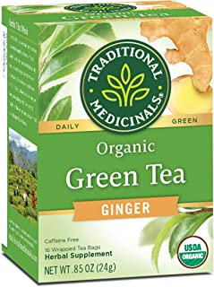 Traditional Medicinals Organic Green Tea Ginger Tea (Pack of 6), Promotes Healthy Digestion, 96 Tea Bags Total