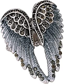 Christineen Guaridan Blessing Angel Wing Stretch Bling Cocktail Fashion Ring Scarf Ring Buckle Clip Jewellery for Women
