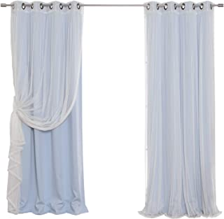 Best Home Fashion Mix and Match Tulle Sheer Lace & Blackout Curtain Set - Antique Bronze Grommet Top - Sky Blue - 52