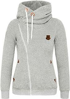 Tomsweet Women Casual Hoodies Long Sleeves Pullover Sweatshirt Oblique Zipper Coat Jumper Jackets