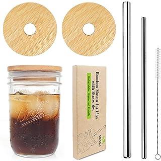 Mason Jar Lids with Straw, ECO Reusable Bamboo Lids, Wide Mouth Mason Jar Tumbler Lids, Mason Jar Tops with 2 Reusable Sta...
