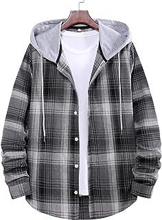 JCDZSW Nueva Pareja Camisa a Cuadros Camiseta de Manga Larga, Chaqueta de Camisa con Capucha Suelta Ocasional de los Hombres
