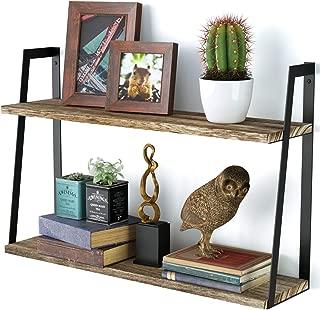 Floating Wall Shelves, 2-Tier Rustic Wood Shelves for Bedoom, Bathroom, Living Room, Kitchen(Carbonized Black)