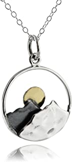 Sterling Silver Mountain Peaks with Bronze Sun Pendant Necklace, 18