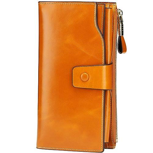 05b23de9df95 Itslife Women s RFID Blocking Large Capacity Luxury Wax Genuine Leather  Clutch Wallet Card Holder Organizer Ladies