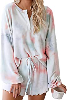 Asvivid Womens Tie Dye Printed Ruffle Short Lounge Set Long Sleeve Tops and Shorts 2 Piece Pajamas Set Sleepwear
