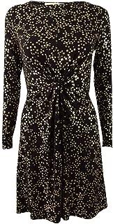 Women's Plus Metallic Twist-Front Dress (1X, Black/Gold)