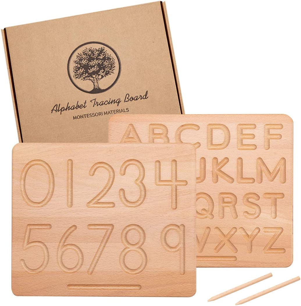 JETM·HH Wood Alphabet wholesale Tracing Board Toys 2 Pcs Montessori Latest item for