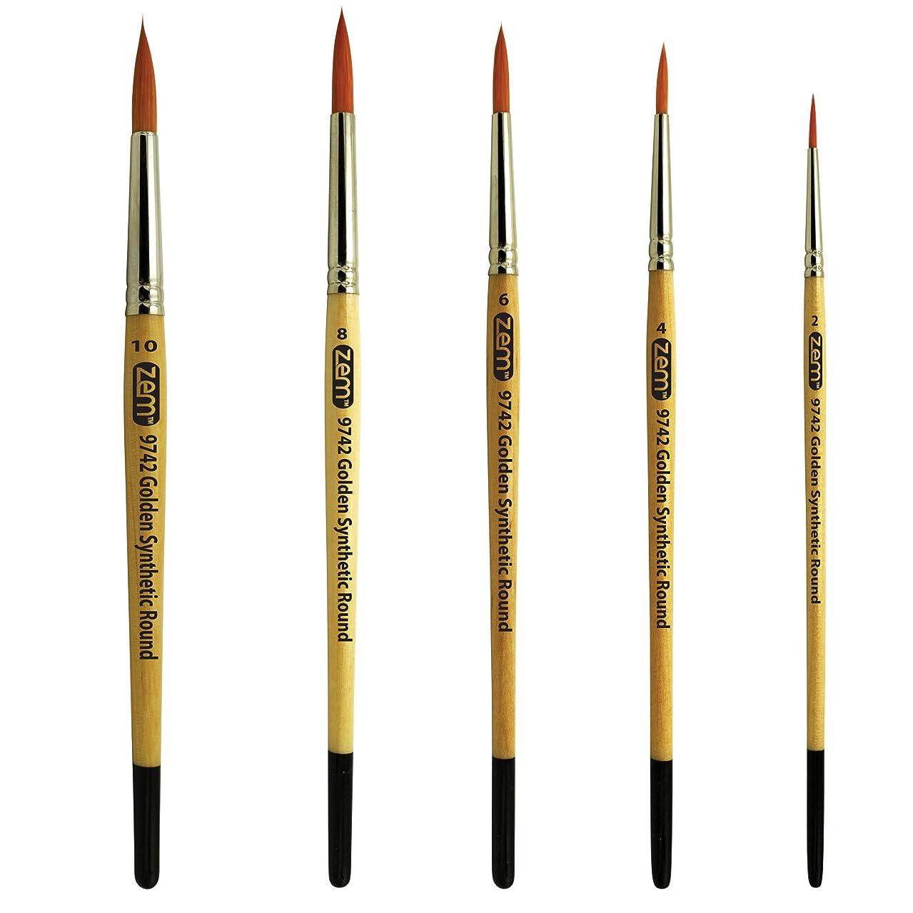 ZEM BRUSH Student Golden Synthetic Rounds Brushes Set Sizes 2,4,6,8,10