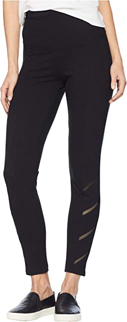 Signature Waistband Ankle Leggings w/ Mesh Trim