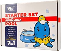 Starter Testing Set for Swimming Pool - Complete Liquid Pool Chemical Water Test Kit - Start Up Cleaning Chemical and Testing Set for Pools Up to 15,000 Gallons