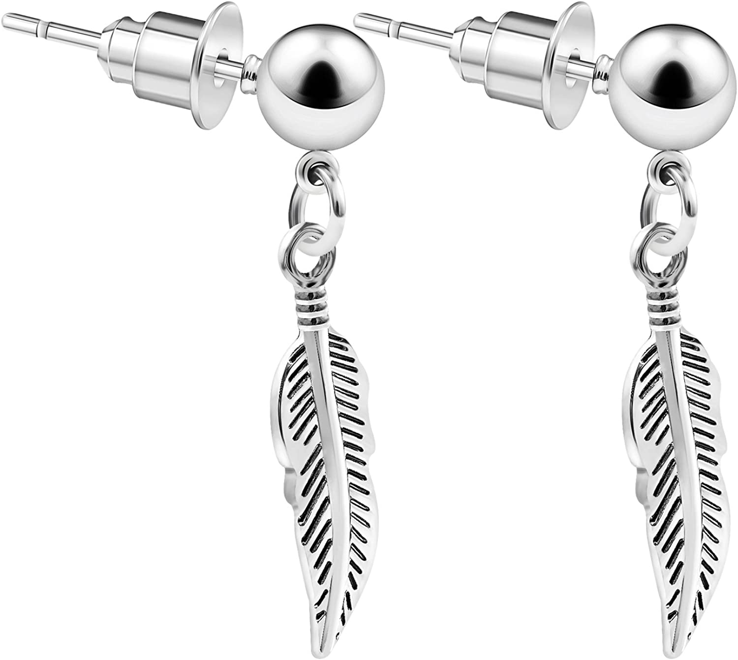 BanaVega 2PCS Stainless Steel Dangle Studded Simple Ear Stud Feather Cartilage Lobe Earrings Tragus Piercing Jewelry 3672