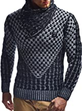 Leif Nelson Men's Knitted Pullover   Long-sleeved slim fit shirt   Basic sweatshirt with shawl collar and faux leather