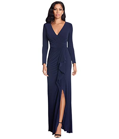 Betsy & Adam Long Sleeve Jersey V-Neck Ruched Gown