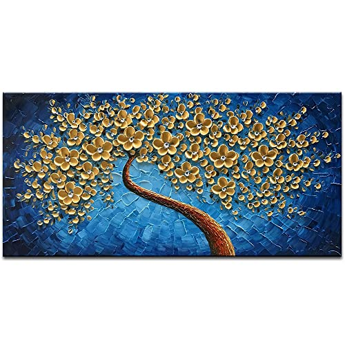 Wall Art Blue Gold White Amazoncom