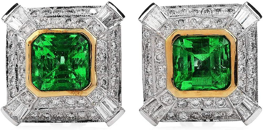 Genuine 6.40 carats Emerald Diamond 18K Gold Retro Square Clip Earrings