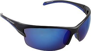 Optic Edge Breakaway Semi-Rimless Sunglasses, Matte Black Frame, Ice Blue Mirror Lens