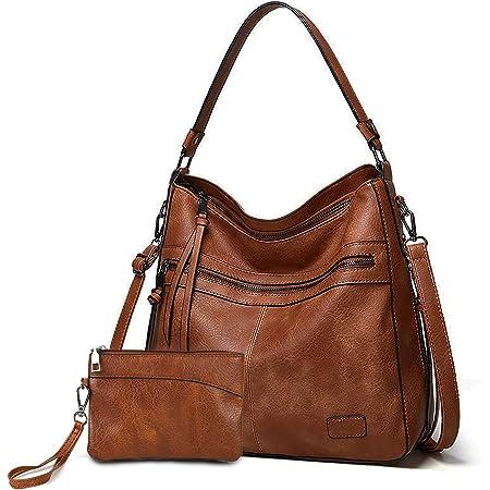 Gladdon Handtaschen Damen Leder umhängetasche Shopper Mode Hobo Taschen grosse Kapazität Schultertasche Designer Mehrfachtasche(Braun)