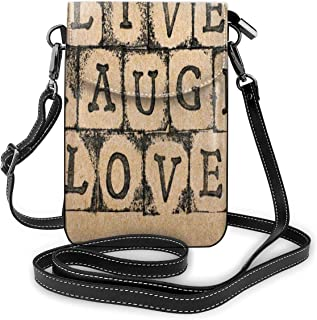 Jiger Women Small Cell Phone Purse Crossbody,Black Alphabet Stamps On Aged Grungy Backdrop Vintage Print
