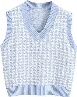 Women Sleeveless Preppy Style Knitwear Tank Top V Neck Y2K Argyle Plaid Knitted Sweater Vest Streetwear for Girl