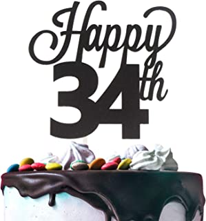 Happy 34th Birthday Black Glitter Cardstock Paper Cake Topper Cheers to 34 Years Old Bday Party Gift Photo Booth Sign Decoration - Premium Double Sided