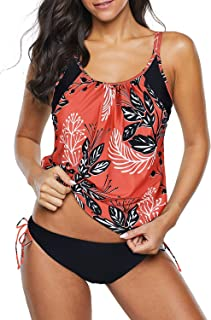 Zando Women`s Sporty Two Piece Double Up Tankini with Panty Stripe Lined Up Swimwear Bathsuit Swimsuits for Womens