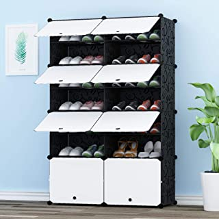 JOISCOPE MEGAFUTURE Portable Shoe Storage Organzier Tower, Modular Cabinet for Space Saving, Shoe Rack Ideal for Shoes, Boots, Slippers (2x7-tier)