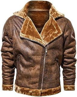 HEFASDM Men Turn Down Collar Outwear Coat Fleece Thickened Leather Pea Coat