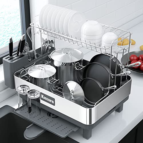 wholesale Kitsure popular Dish Drying Rack, 2-Layer Stainless Steel Dish Rack and Drainboard Set with Drainage, Dish Strainer for Kitchen Counter with Multipurpose Design,Large wholesale Dish Drying Rack with Easy Installation outlet online sale