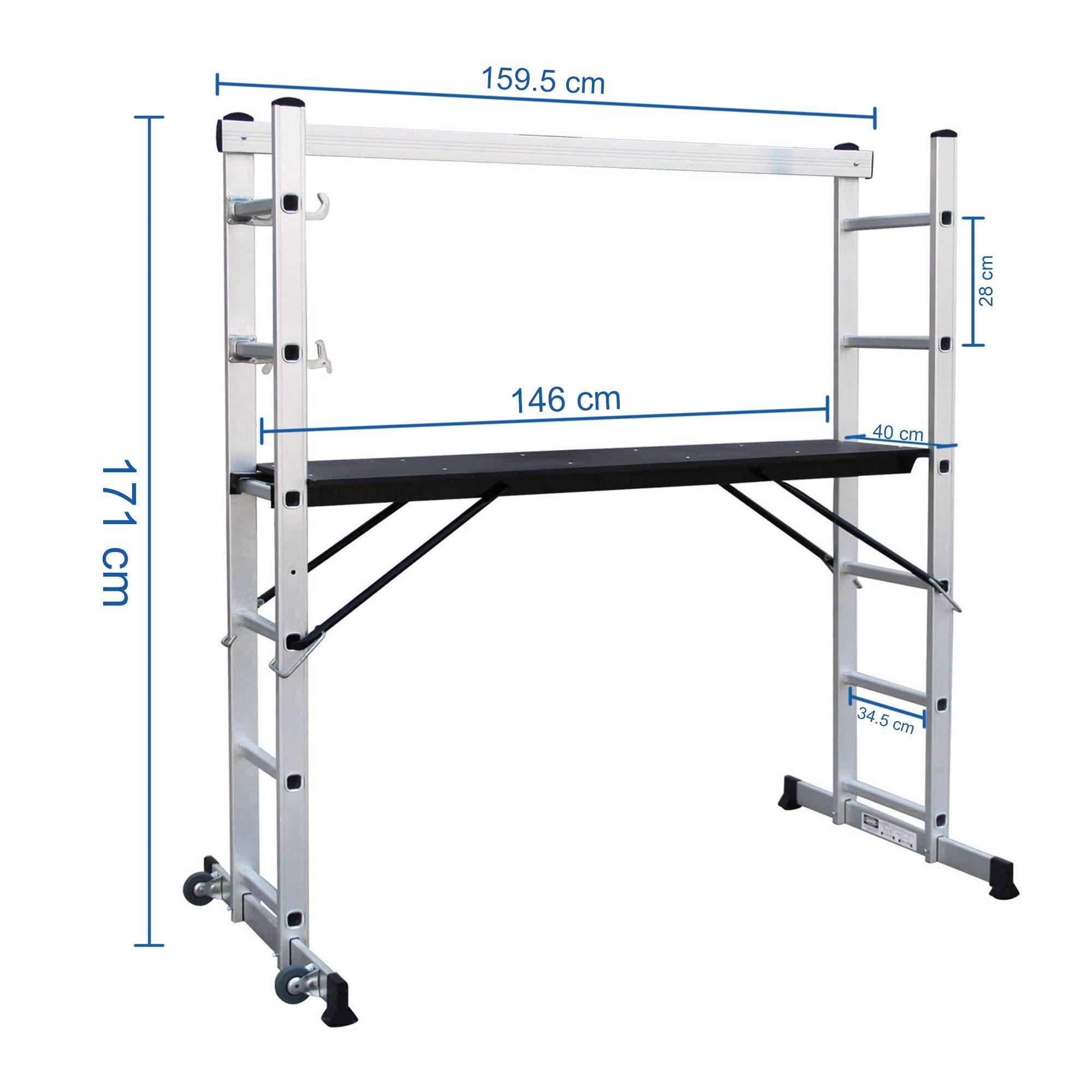 Sotech - Escalera Multiusos, Andamio, 168 x 160 x 45 cm, EN 131, Carga máxima: 150 kg, Tamaño de la plataforma: 147 x 40,5 cm: Amazon.es: Bricolaje y herramientas