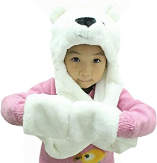 Dealzip Inc® Cartoon Animal Long Style Cute Polar Bear Plush Hood Scarf Winter Warm Party Cute Cap Hat