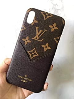 Phone case for iPhone Xs MAX Brown Fashionable Luxurious and Elegant high-Grade Leather Material Monogram Vintage Style Cover Case for Apple iPhone Xs Max … (Beige)