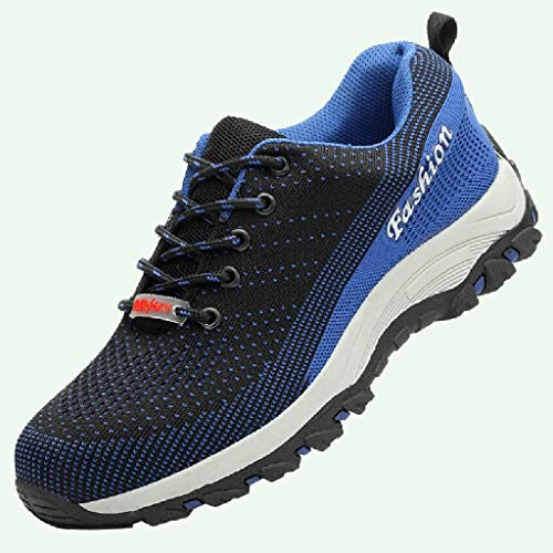 ZYFXZ Bottes de de Travail Chaussures de Formateurs de sécurité for Hommes et Femmes Bottes de Travail en Acier Toe Cap Bottes de sécurité (Couleur   bleu, Taille   42)