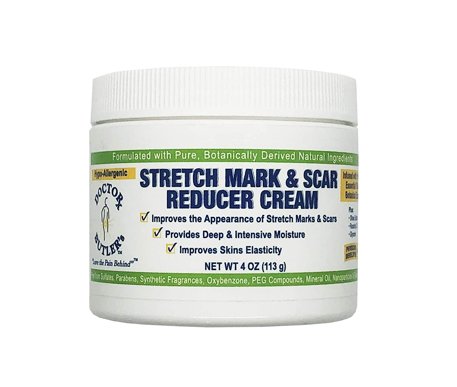 Doctor Butler Stretch Mark Cream - Postpartum & Pregnancy Stretch Mark Cream and Skin Moisturizer that Helps Reduce Stretch Marks with Shea Butter & Rosehip Oil, Paraben Sulfate Free (4 oz)