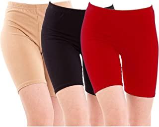 Pixie Biowashed 220 GSM Cotton Lycra Cycling Shorts for Girls/Women/Ladies Combo (Pack of 3) Beige, Black and Red - Free Size